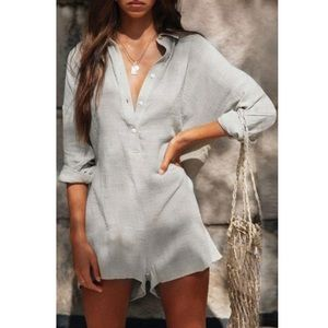Laceyou Buttons Design Daily Romper
